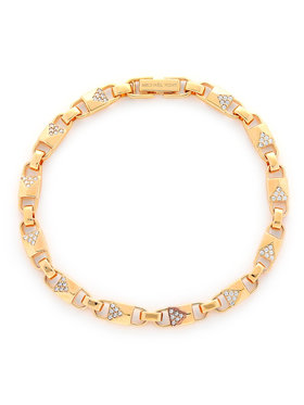Michael Kors Michael Kors Гривна Precious Metal-Plated Sterling Silver Pavé Mercer Link Bracelet MKC1004AN791 Златист