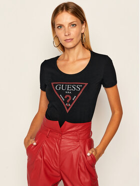 Guess Guess T-Shirt Basic Triangle W83I17 K6YW0 Schwarz Slim Fit