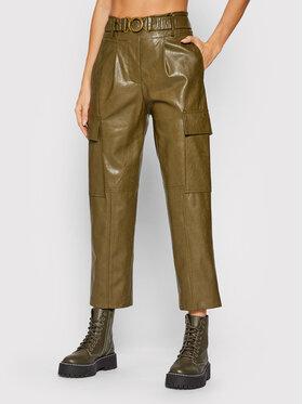 Fracomina Fracomina Pantalon en simili cuir F321WV5001E40201 Vert Regular Fit