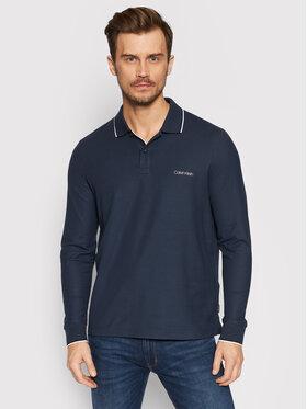 Calvin Klein Calvin Klein Тениска с яка и копчета Refined Pique Tipping Ls Polo K10K107952 Тъмносин Regular Fit