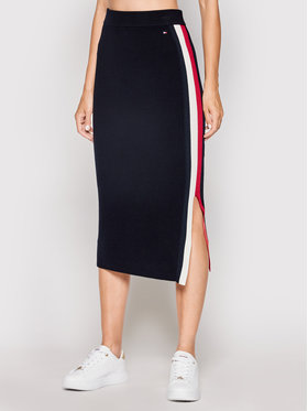 Tommy Hilfiger Tommy Hilfiger Pouzdrová sukně Global Stripe WW0WW31117 Tmavomodrá Fitted Fit