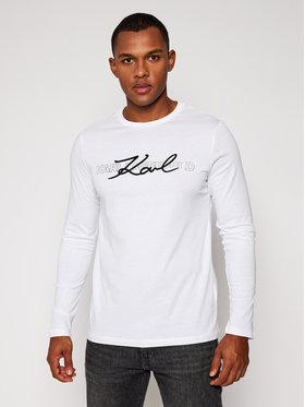 KARL LAGERFELD KARL LAGERFELD Тениска с дълъг ръкав Crewneck Ls 755042 502224 Бял Regular Fit