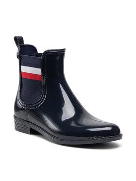 Tommy Hilfiger Tommy Hilfiger Kotníková obuv s elastickým prvkem Corporate Ribbon Rainboot FW0FW05969 Tmavomodrá