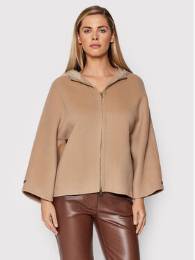 Peserico Peserico Manteau en laine S22044E Beige Relaxed Fit