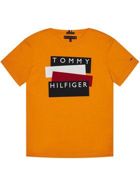 TOMMY HILFIGER TOMMY HILFIGER Marškinėliai Sticker Tee KB0KB05849 D Oranžinė Regular Fit