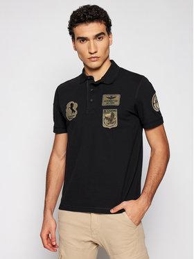 Aeronautica Militare Aeronautica Militare Тениска с яка и копчета 211PO1538P192 Черен Regular Fit