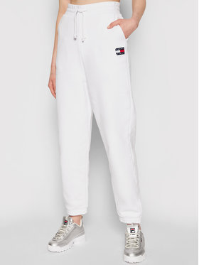 Tommy Jeans Tommy Jeans Teplákové kalhoty Tjw Hrs Badge DW0DW09740 Bílá Relaxed Fit