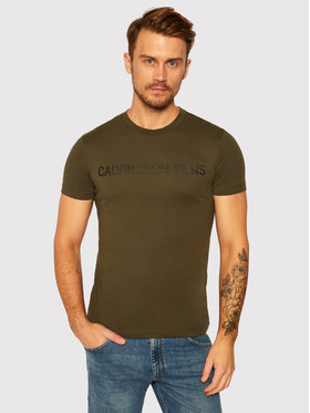 Calvin Klein Jeans Calvin Klein Jeans T-Shirt Institutional J30J307856 Zielony Regular Fit