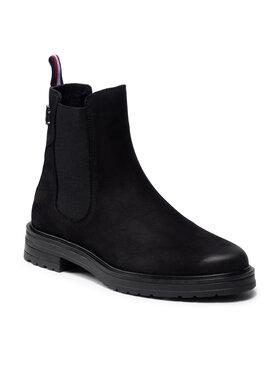 Tommy Hilfiger Tommy Hilfiger Kotníková obuv s elastickým prvkem Th Stud Flat Boot FW0FW06027 Černá