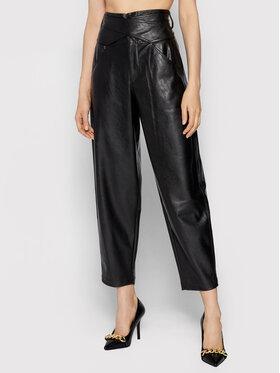 Pinko Pinko Kalhoty z imitace kůže Shelby 1G168U 7105 Černá Relaxed Fit