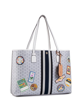 Tory Burch Tory Burch Kabelka Gemini Link Canvas Patches Tote 71922 Sivá