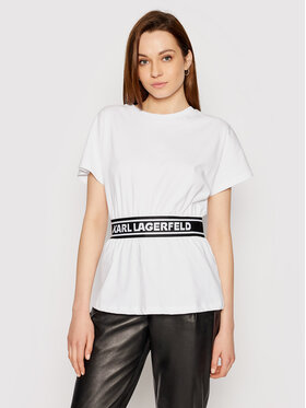 KARL LAGERFELD KARL LAGERFELD T-Shirt Logo Tape Top 211W1705 Weiß Regular Fit