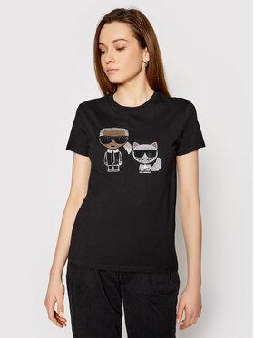 KARL LAGERFELD KARL LAGERFELD T-Shirt Ikonik Rhinestone 210W1725 Černá Regular Fit