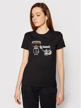 KARL LAGERFELD KARL LAGERFELD T-Shirt Ikonik Rhinestone 210W1725 Czarny Regular Fit