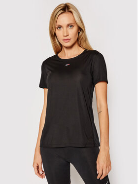Tommy Hilfiger Tommy Hilfiger Funkčné tričko Fabric Mix Tee S10S101057 Čierna Regular Fit