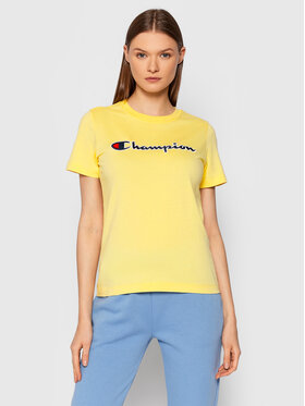 Champion Champion T-shirt Script Logo 114472 Žuta Regular Fit