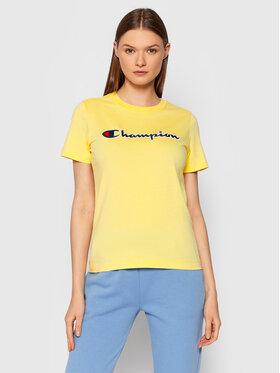 Champion Champion Тишърт Script Logo 114472 Жълт Regular Fit