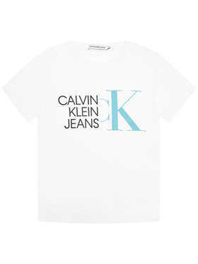 Calvin Klein Jeans Calvin Klein Jeans T-Shirt Hybrid Logo Fitted IB0IB00849 Biały Regular Fit