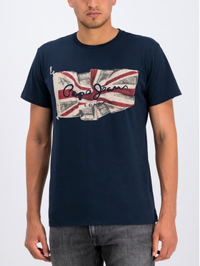 Pepe Jeans Pepe Jeans T-shirt Flag Logo PM505671 Blu scuro Regular Fit