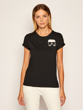 KARL LAGERFELD KARL LAGERFELD T-Shirt Ikonik Karl Pocket 205W1701 Czarny Regular Fit