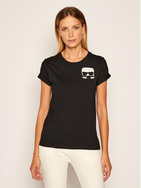KARL LAGERFELD KARL LAGERFELD T-Shirt Ikonik Karl Pocket 205W1701 Schwarz Regular Fit