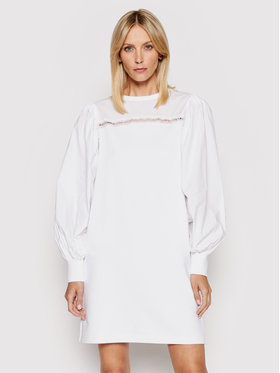 KARL LAGERFELD KARL LAGERFELD Haljina za svaki dan Fabric Mix Sweat 211W1360 Bijela Regular Fit