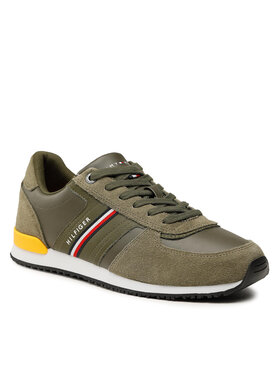Tommy Hilfiger Tommy Hilfiger Sneakers Iconic Runner Leather Mix FM0FM03743 Vert