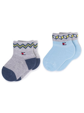 Tommy Hilfiger Tommy Hilfiger Súprava 2 párov vysokých detských ponožiek 100000798 Modrá