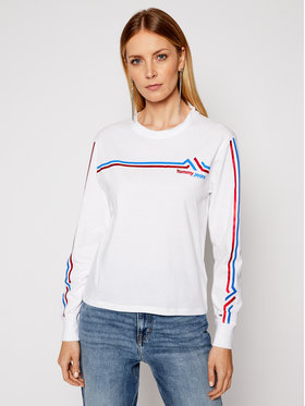 Tommy Jeans Tommy Jeans Блуза Double Line DW0DW08942 Бял Regular Fit