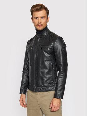 Trussardi Trussardi Kurtka z imitacji skóry Biker 52S00629 Czarny Regular Fit