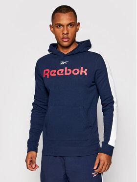 Reebok Reebok Majica dugih rukava Training Essentials Linear Logo GL3150 Tamnoplava Slim Fit