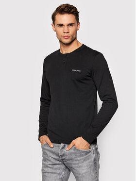 Calvin Klein Calvin Klein Majica dugih rukava Henley Long Sleeve Slim K10K107715 Crna Regular Fit