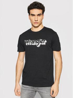 Wrangler Wrangler Tricou Ss Logo Tee W7J4D3100 Negru Regular Fit