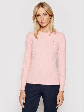 Gant Gant Sweter Stretch Cable Crew 480021 Różowy Slim Fit