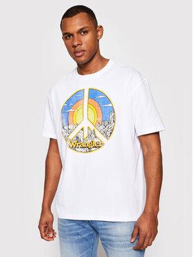 Wrangler Wrangler T-shirt Ss Car Tee W7APGF989 Bijela Regular Fit