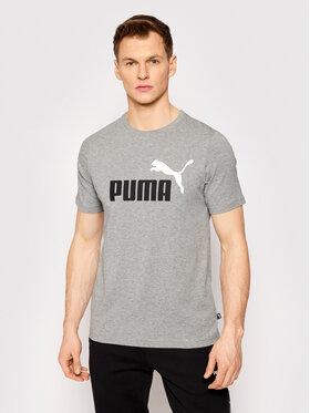 Puma Puma T-Shirt Ess+ Col Logo 586759 Szary Regular Fit