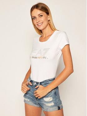 EA7 Emporio Armani EA7 Emporio Armani T-Shirt 6HTT01 TJ2HZ 1100 Biały Slim Fit