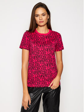 KARL LAGERFELD KARL LAGERFELD Marškinėliai All Over Graffiti Logo 206W1702 Rožinė Regular Fit