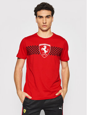 Puma Puma T-Shirt Scuderia Ferrari Chequered Flag 599848 Czerwony Regular Fit