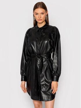 TWINSET TWINSET Šaty z imitácie kože 212TT2050 Čierna Regular Fit