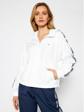 Tommy Jeans Tommy Jeans Giacca di transizione Tjw Tape Sleeve Windbreaker DW0DW09929 Bianco Regular Fit