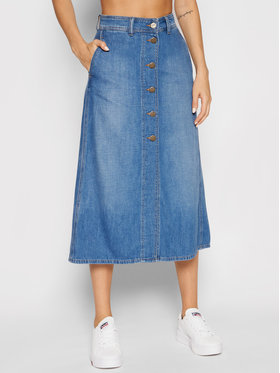 Lee Lee Spódnica jeansowa Button Through L38TNAHN Niebieski Regular Fit