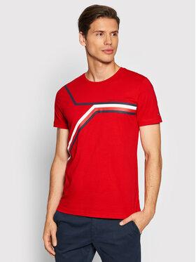 Tommy Hilfiger Tommy Hilfiger T-Shirt Split Chest Stripe MW0MW18724 Czerwony Regular Fit
