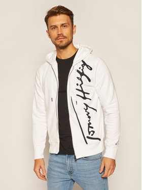 TOMMY HILFIGER TOMMY HILFIGER Pulóver Signature Hooded Zip MW0MW14446 Fehér Regular Fit