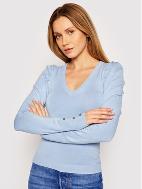 Guess Guess Sveter Carole W1RR05 Z2NQ0 Modrá Slim Fit