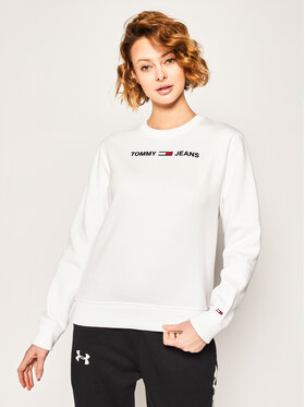 Tommy Jeans Tommy Jeans Mikina Tjw Essential Logo Sweatshirt DW0DW07976 Bílá Regular Fit