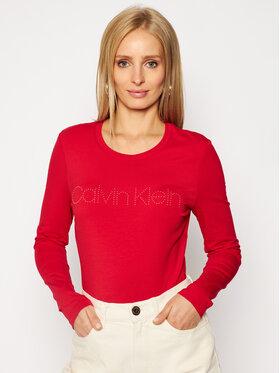 Calvin Klein Calvin Klein Halenka Ls Stud Logo Tee K20K202386 Červená Regular Fit