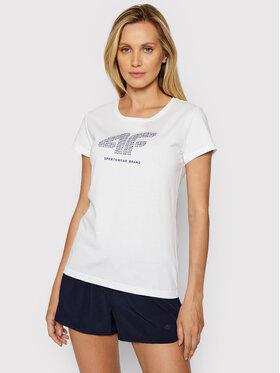 4F 4F T-Shirt H4L21-TSD011 Biały Regular Fit