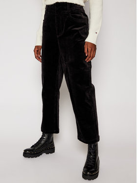 Tommy Jeans Tommy Jeans Spodnie materiałowe Corduroy DW0DW09092 Czarny Regular Fit