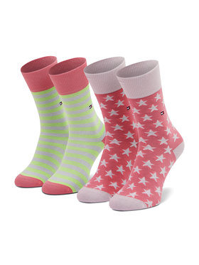 Tommy Hilfiger Tommy Hilfiger Комплект 2 чифта дълги чорапи мъжки 100000816 Розов